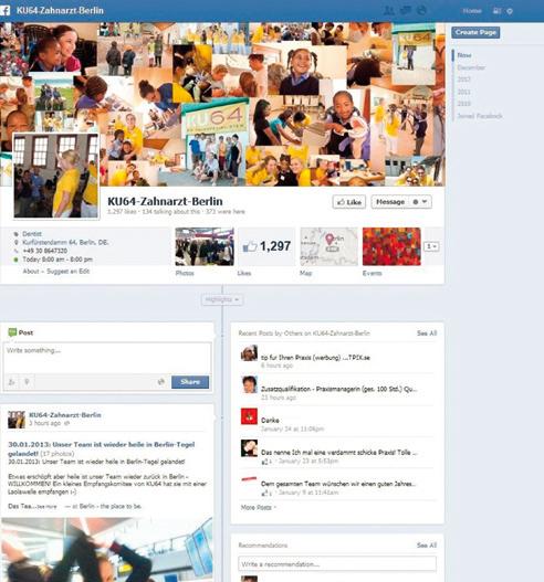 Abb. 2: Ein besonders gelungenes Beispiel einer zahnärztlichen Facebook-Seite. (Bildquelle: www.facebook.com/KU64ZahnarztBerlin)